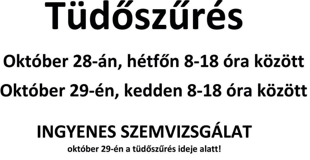 Tüdőszűrés 2019. október 28-29-én Galgahévízen