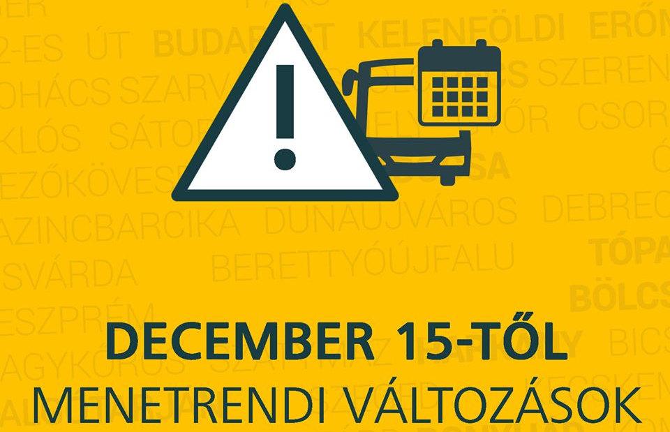 Autóbusz menetrendi változások 2019. december 15.-től