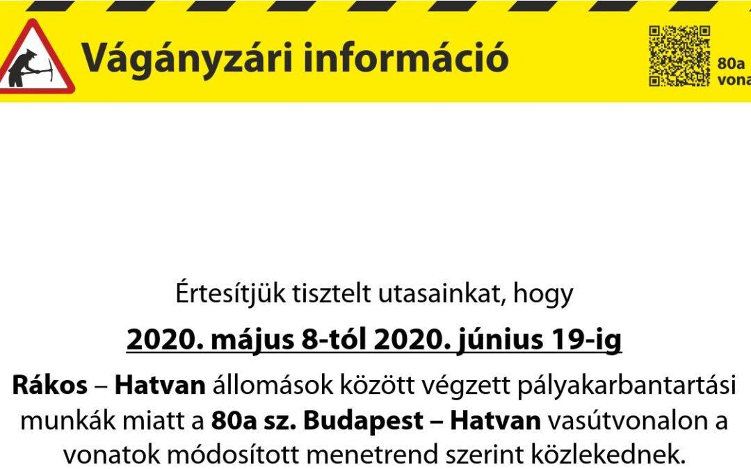 Vágányzári információ a 80a Budapest-Hatvan vonalon