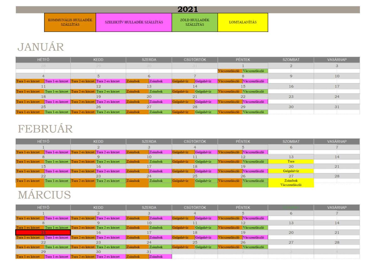 2021. I. negyedév hulladékszállítási naptár