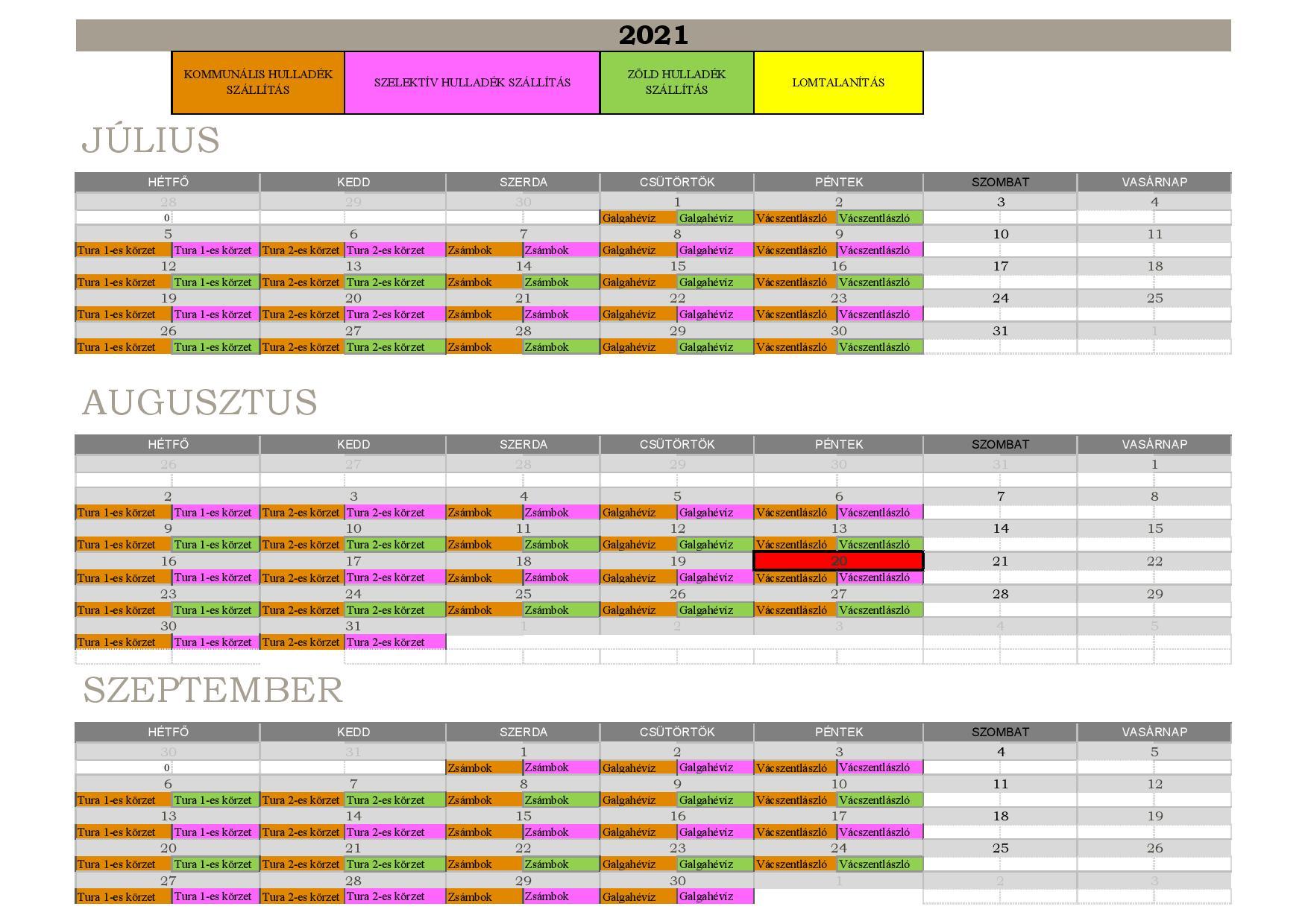 2021. III. negyedév hulladékszállítási naptár
